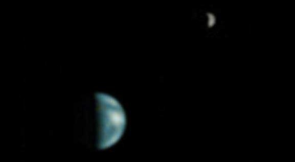 China's Tianwen-1 Mars probe captured this image of the Earth and Moon